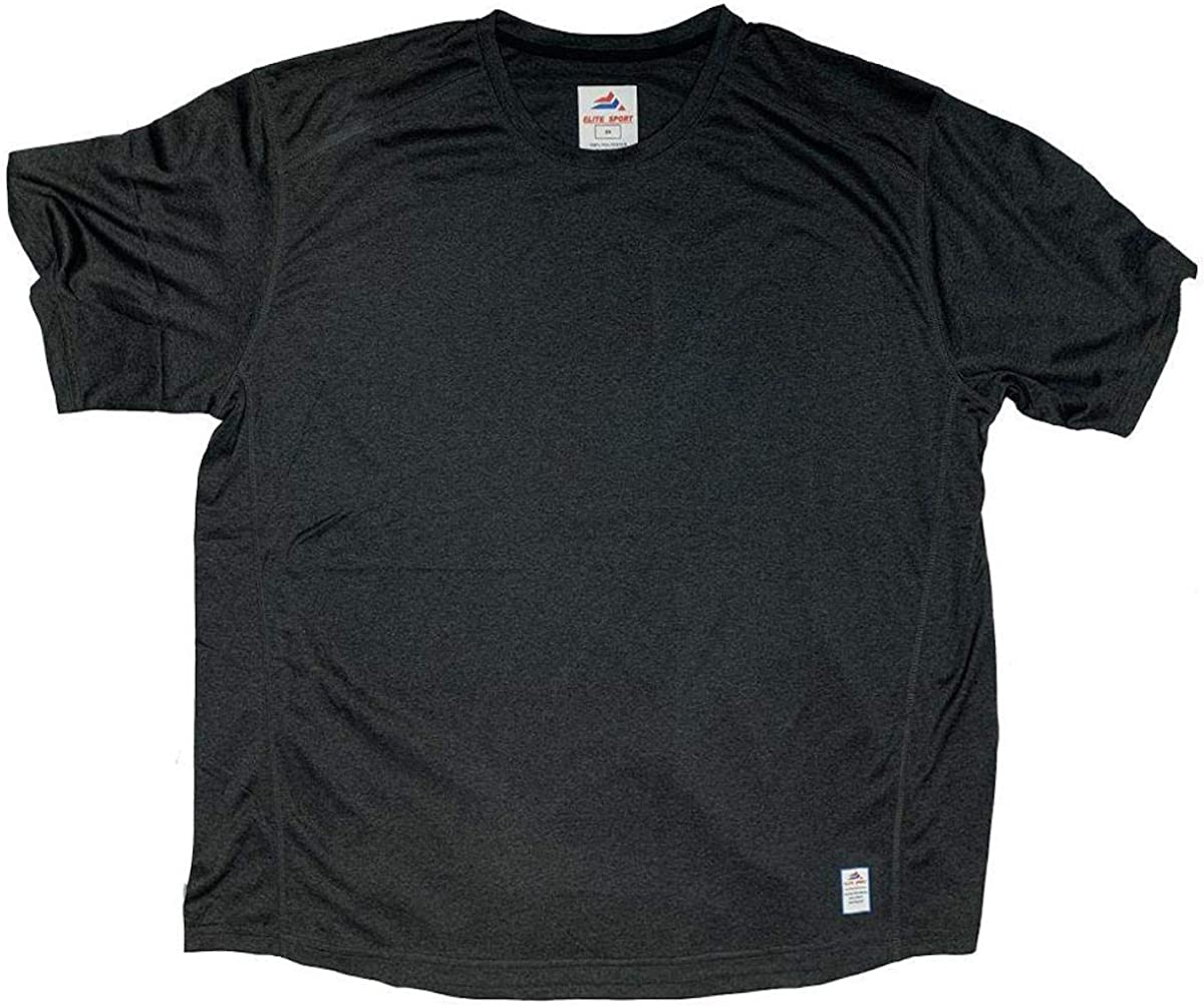 Big and Tall Elite Sport Moisture Wicking Lightweight Crew Neck T-Shirt to Size 6XT and 8X in Black, Navy, and Grey
