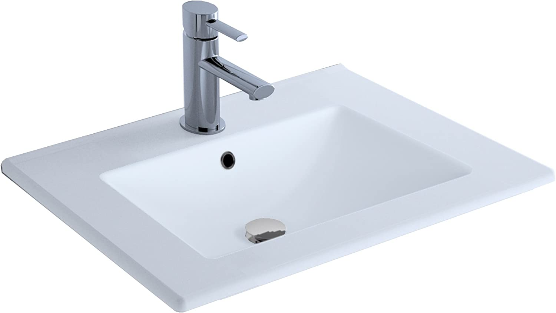 Cygnus Bath - Keramikwaschbecken 60 cm, Extra flach
