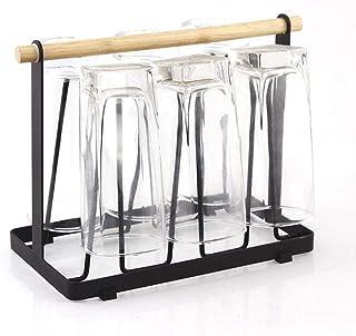 DUDDP Étagère cuisine Tasse en acier métal Porte-verre Coupe séchants Organisateur Support de rangement avec 6 Crochet Fac...