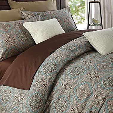 Brandream Luxury Hotel Classy Paisley Regal Themed Duvet Cover Set 100% Cotton Sateen, Inside Ties, Comfortable, Soft Durable, 3pc 800-Thread-Count Bedding Set with Button Closure Taupe King Size