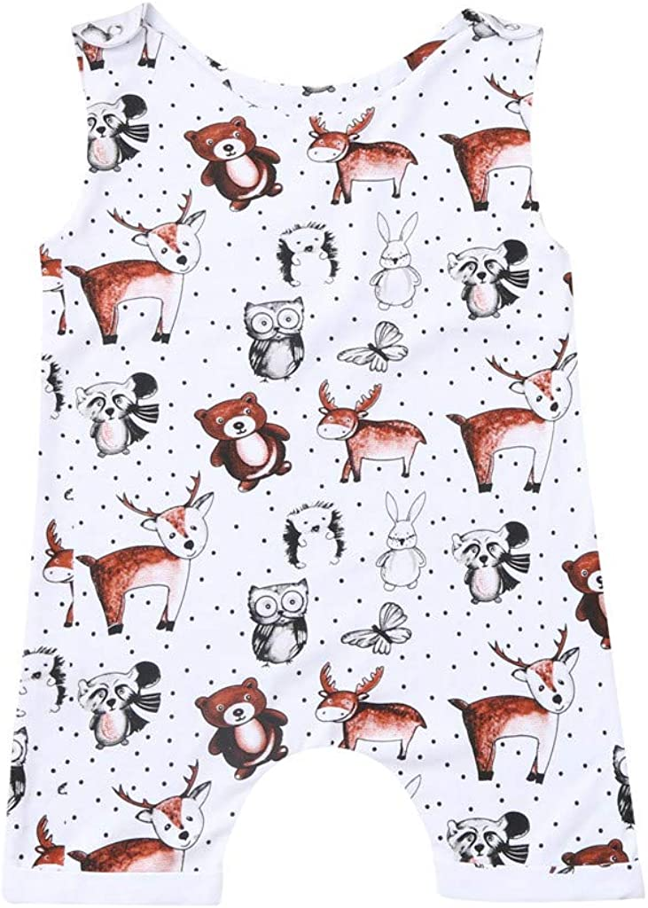 Lucoo Baby Romper Infant Baby Girl Clothes Baby Girls Sleeveless Cartoon Bear Cow Print Romper Jumpsuit
