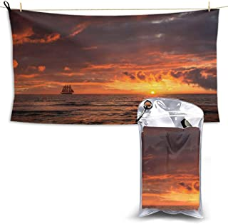 """Sailing Ship Skyline Fast Quick Dry Microfiber Towel Camping Towel Swimming Towel Fast Drying - Super Absorbent for Gym Beach Swimming Fitness Hiking Yoga Travel Sports Backpacking 27.5"""" x 51"""""""