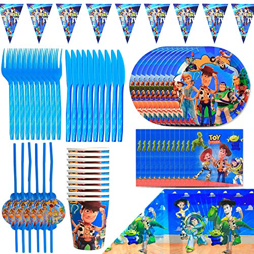 Kit De Vajilla Desechable, BAIBEI Decoraciones Cumpleaños Kit Para Mesa De Fiesta Toy Story 4 Theme Gaming Artículos De Fiesta Desechables Complete Party Supplies Kit Baby Shower