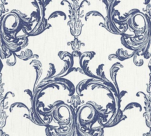 Architects Paper Textiltapete Tessuto 2 Tapete mit Ornamenten barock 10,05 m x 0,53 m blau weiß Made in Germany 961964 96196-4
