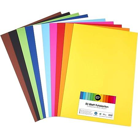 perfect ideaz 50feuilles de carton photo A2, carton de bricolage, teinté dans la masse, en 10coloris différents, grammage 300g/m², feuilles à qualité élevé