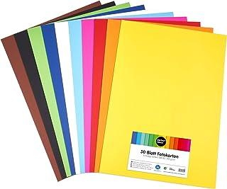 perfect ideaz 50feuilles de carton photo A2, carton de bricolage, teinté dans la masse, en 10coloris différents, grammag...