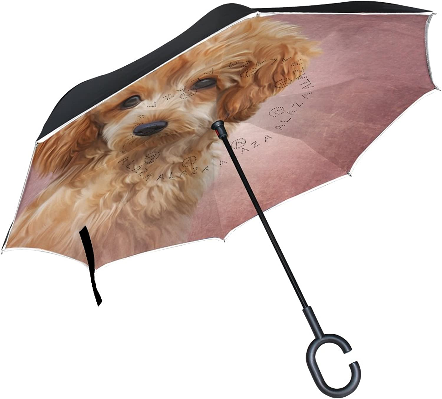 My Daily Double Layer Ingreened Umbrella Cars Reverse Umbrella Toy Poodle Puppy Dog Windproof UV Proof Travel Outdoor Umbrella