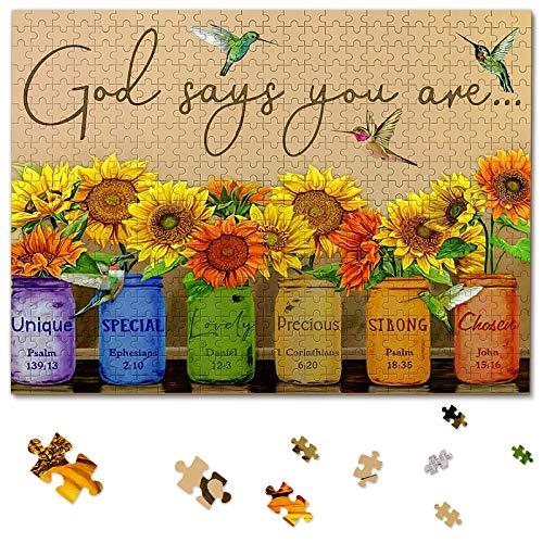 Bold And Brash Sunflower, puzzle con fiori 500 pezzi, ispirati a Dio SAGT, Sei – ase con girasole, uccello colorato per adulti e bambini, Brain Teaser 52,2 x 38,5 cm