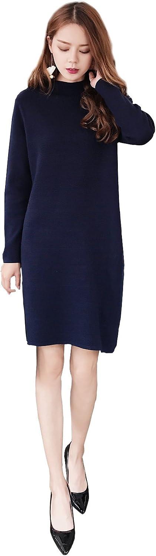 CG Long Sweatwer for women Rrew Neck 100% Wool Long Sleeve Sweater Shift Dress E0017