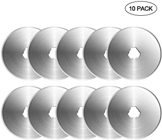 KOBWA 60mm Rotary Cutter Blades Set - Pack of 10, Carbon Steel SKS7 Rotary Replacement Blades with Scale - Sharp&Durable, Fits OLFA,Fiskars,Dremel,Truecut,DAFA Cutter Replacement