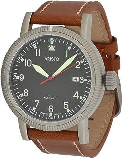 Aristo - Reloj automático de hombre de aviador 3H83, calibre automático Aristomatic SW200, mecanismo de acero inoxidable, correa de piel marrón, sumergible hasta 5 ATM.