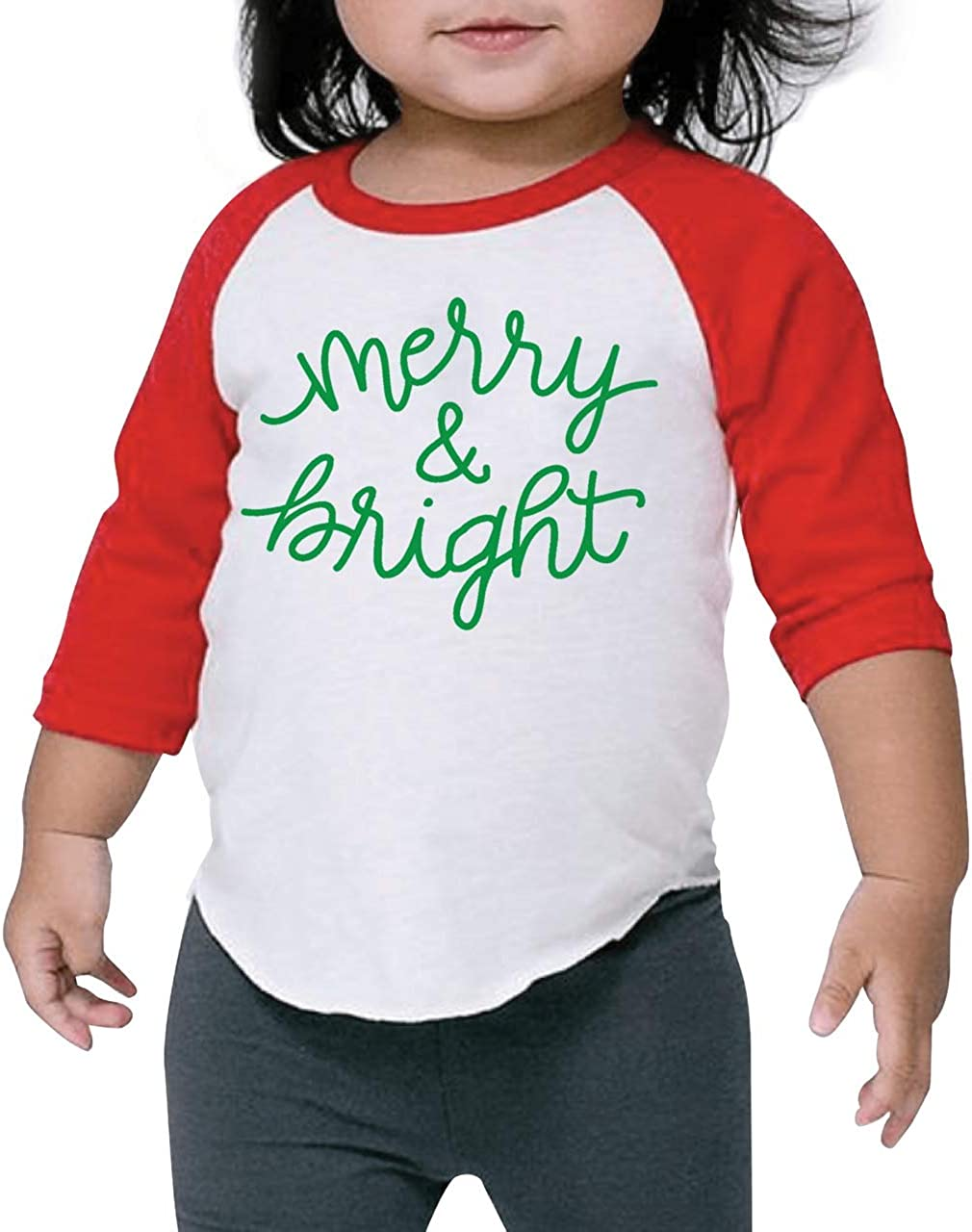 Kids Christmas Branded Limited price goods Shirt Merry Bright and Raglan Red