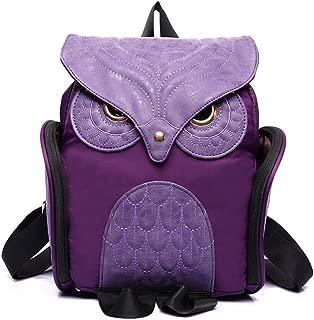 (Purple) - Estwell Women PU Leather Owl Backpack Handbag Casual Daypack Shoulder Bag Travel Rucksack