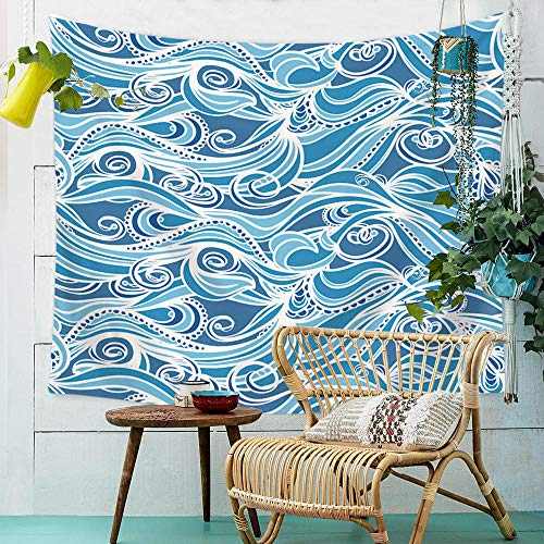 YASHUO Onda de mar Tapiz de Rayas Impresas Tapiz de Pared Tapiz Azul Grande Decoración de Tela Manta Alfombra de Yoga Alfombras Mantas Playa,TT3,El 150x100cm