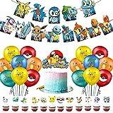 Globo Pokémon, Globos para Fiestas de Niños,Birthday Party Decoration, Globo Pikachu Happy Birthday Banner Cake Topper para Niños y Niños La Decoración de Cumpleaños(24Piezas)
