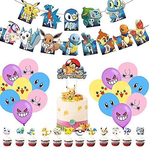 Globo Pokémon, Globos para Fiestas de Niños,Birthday Party Decoration, Globo Pikachu Happy Birthday Banner Cake Topper para Niños y Niños La Decoración de Cumpleaños(50Piezas)