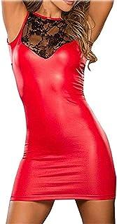 SxyBox Sexy Donne Vestito Clubwear Abito da Festa in Pelle Bodycon Chiusura Lampo