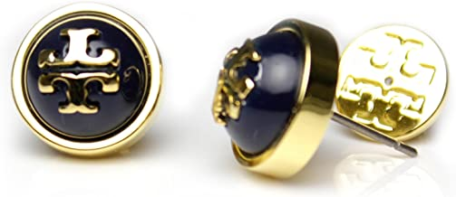Tory Burch Melodie Pearl Logo Stud Fashion Dome Earrings TB Logo Studs