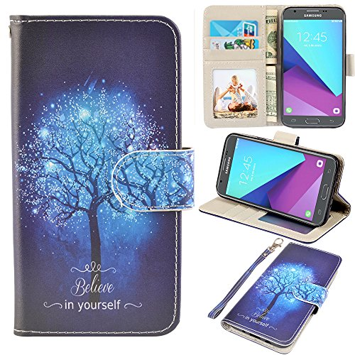 Samsung Galaxy J3 Emerge Case, J3 2017 Case, J3 Prime Case, Amp Prime 2 Case, UrSpeedtekLive J3 Emerge Wallet Case, Premium PU Leather Flip Case Cover w/Card Slots & Kickstand(Galaxy Tree)