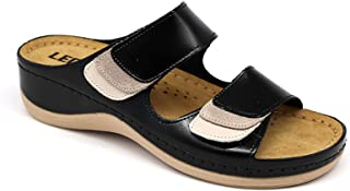 LEON 904 Leather Slip-on Womens Ladies Sandals Mule Clogs Slippers Shoes