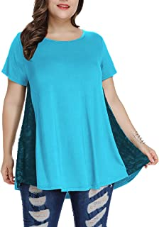 AUPYEO Women Summer Plus Size Lace Tunic Top Short Sleeve Home Shirt for Legging