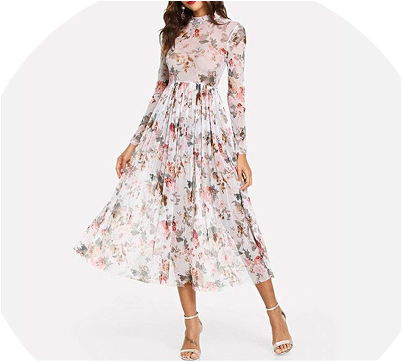 I'll NEVER BE HER Multicolor Highstreet Party Elegant Sheer Pleated Dress 2018 Autumn Modern Women Dresses