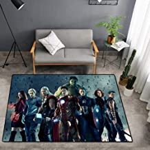 Boys Room Avengers Rug, Living Room Bedroom Rug Personality Non-Slip Wear-Resistant Decoration Dark Green,120X200cm
