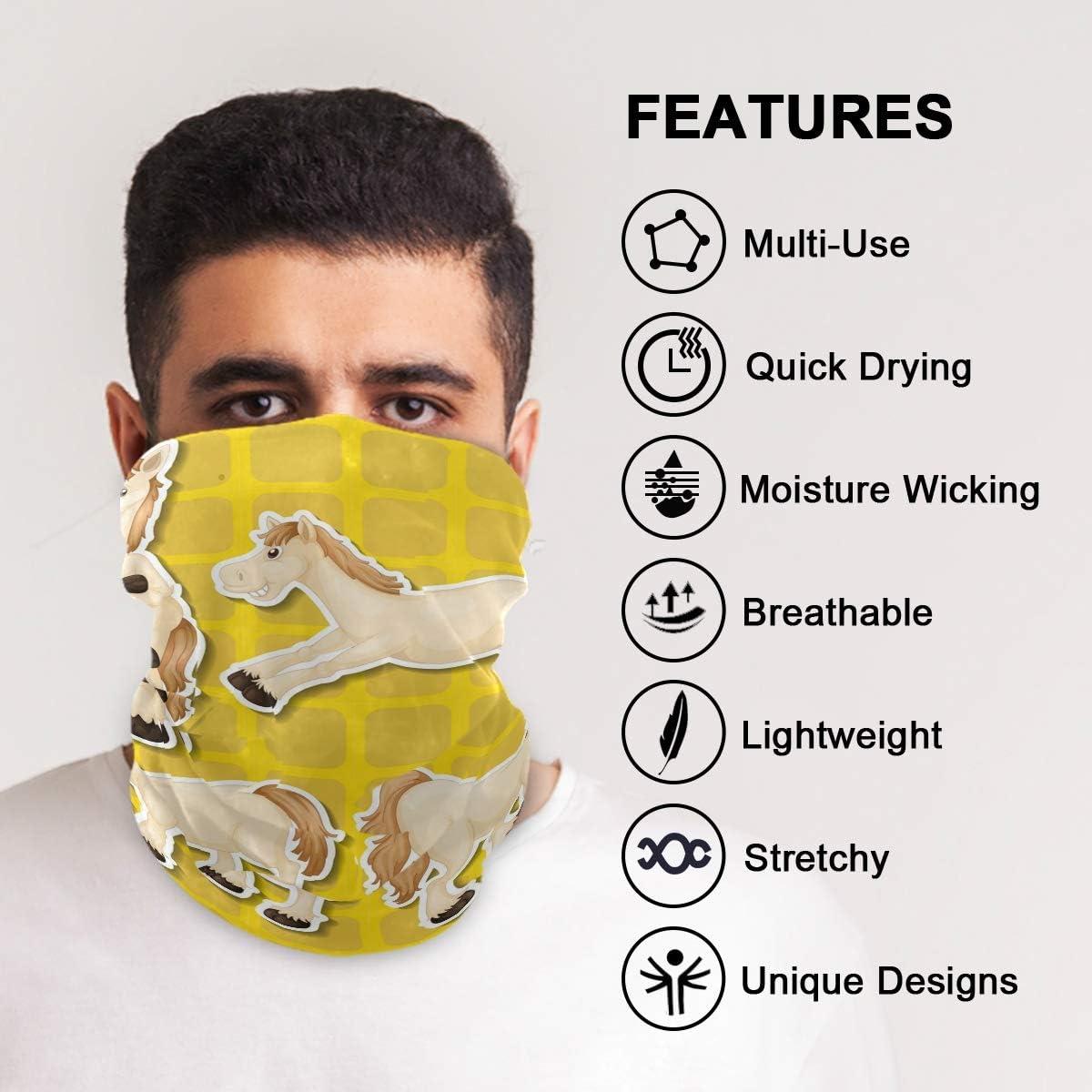 Face Mask Bandana Balaclava Neck Gaiter for Women Men, Funny Horse Face Sun Dust Mask Magic Scarf Headwear for Running Fishing Outdoor