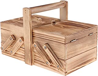 Wood Feian Wooden Sewing Box Expanding Sewing Basket Box Organiser Vintage Wood Sewing Storage Box Artist Tool /& Brush Storage Box for Sewing Supplies