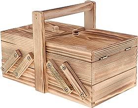 Flameer Vintage Cantilever Sewing Basket for Crafts DIY Tools Practical Wooden Box
