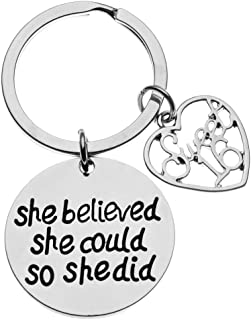 Sweet 16 Inspirational She Believed She Could So She Did Charm Keychain, Sweet Sixteen Jewelry Birthday Gift Girls