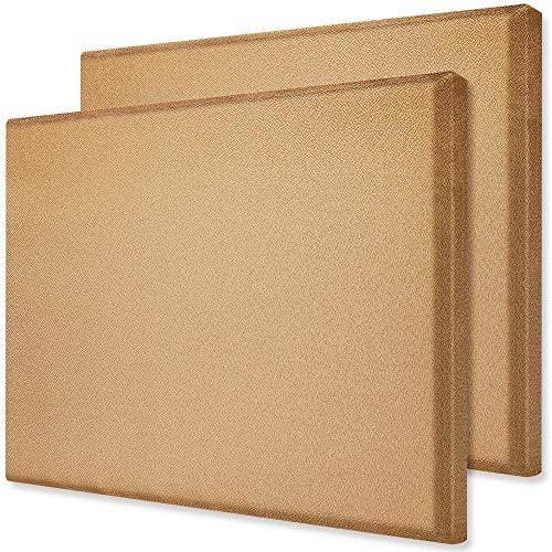 TroyStudio Acoustic Panel - Sound Absorber - Fiberglass - Multiple Colors & Sizes - (Pack of 2) (400 X 300 X 28 mm, Brown)