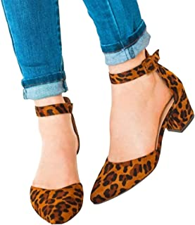 Womens Heeled Ankle Strap Sandals Pointed Toe Cutout Mid Block Heel Pumps