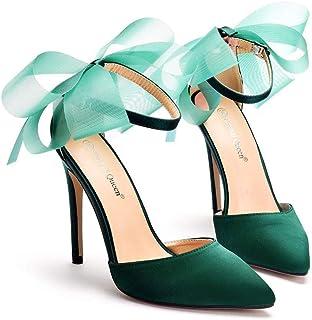 Women's Court Shoes,High Heels Bridal Shoes,11cm Temperament sexy Satin Stiletto Heel Pumps Wedding shoes Mary Jane Pumps,Clubbing Evening Wedding Party Dress Bridesmaid shoes,Green,41 EU