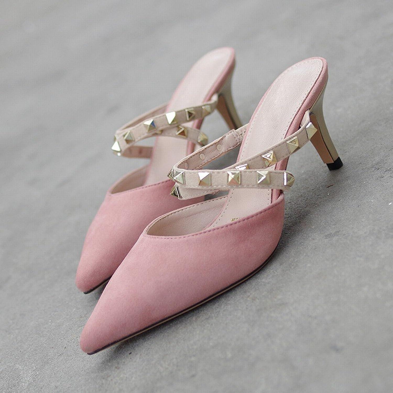 DIDIDD Hochhackige, Spitze Damenschuhe mit Nieten, Fein mit mit Baotou Mulei-Schuhen, Frauen-Sandalen,Nackt,35  Online-Mode einkaufen