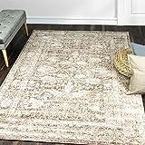 A2Z Rug | Alfombra Pelo Corto|De Diseño Moderna Carpeta Aspecto Oriental Vintage Adornos Estampado Flores|de Salón, Dormitorio, Comedor| Crema Beige| tamaño: 60x230 CM