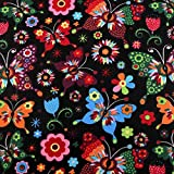 Baumwollstoff 2115 Schmetterlinge und Blumen - Meterware ab