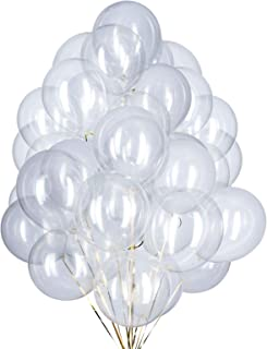 YESON 12 Inch Clear Balloons Party Latex Helium Transparent Balloon,Pack of 50