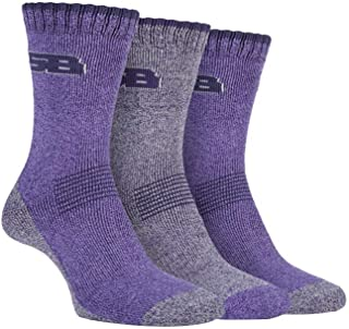 STORM BLOC Women's 3 Pack Cushioned Summer Hiking Boot Socks with Arch Support, Lilac/purple, 4-8 Womens UK