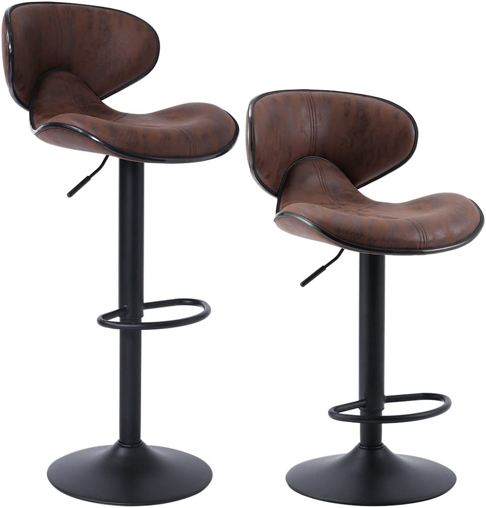 SUPERJARE Set of 9 Adjustable Bar Stools, Swivel Barstool Chairs with Back,  Pub Kitchen Counter Height, Retro Brown