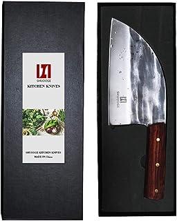 Couteau à découper à la Main forgé Haute teneur en Carbone plaqué de Couteaux de Cuisine en Acier Cleaver Filleting Tranch...