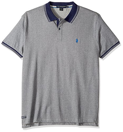 U.S. Polo Assn. Men's Slim Fit Printed Short Sleeve Jersey Polo Shirt, 8527-Heather Grey, L