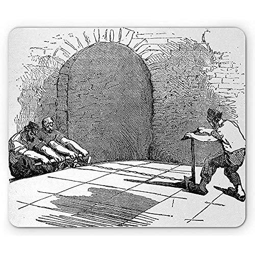 France Mouse Pad, Oude Gegraveerde Illustratie van Arbeiders Doen Zeep Snijden in Marseille, Wit en Houtskool Grijs