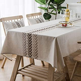 Bringsine Embroidery Wheat Ear Tablecloth Heavy Weight Cotton Linen Fabric Dust-Proof Water-Proof Table Cover for Kitchen Dinning Tabletop Decoration (Rectangle/Oblong, 53 x 53 Inch, Linen)