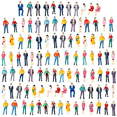 Polai 100 Pezzi Figure Scala 1:50 Personaggi Plastico Ferroviario in Miniatura