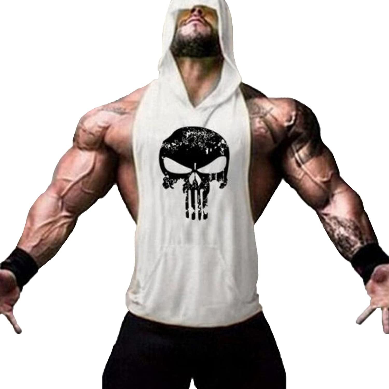 Men's Sleeveless Hooded Tank Tops Bodybuilding Max 90% discount OFF F Skull Gym Print