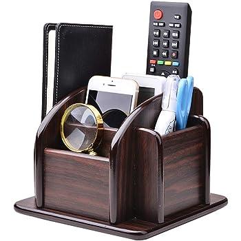 YCOCO Wood Office Supplies Desk Organizer Rack, Rotating Remote Control Holder Pen Pencil Holder 6 Compartments Desktop Storage Organizer