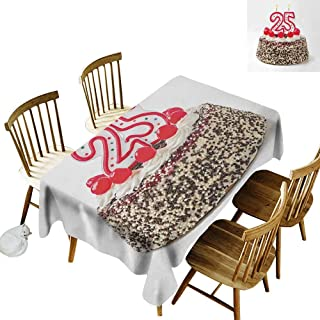 kangkaishi 25th Birthday Washable Long Tablecloth Number Candles Twenty Five on Chocolate Cherry Cake Yummy Artwork Print Dinner Picnic Home Decor W54 x L108 Inch Red Cream Brown