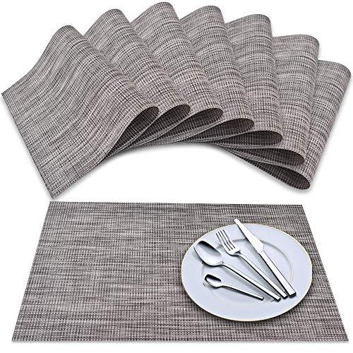 Newk Tovaglietta (set di 8), tovagliette intrecciate in vinile intrecciato, set di tovagliette lavabili con isolamento antiscivolo (grigio scuro)