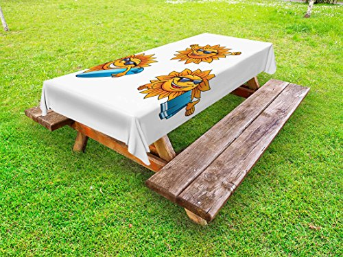 """Ambesonne Cartoon Outdoor Tablecloth, Surf Sun Characters Wearing Shades and Surfboards Fun Hippie Summer Kids Design, Decorative Washable Picnic Table Cloth, 58"""" X 84"""", Orange White"""